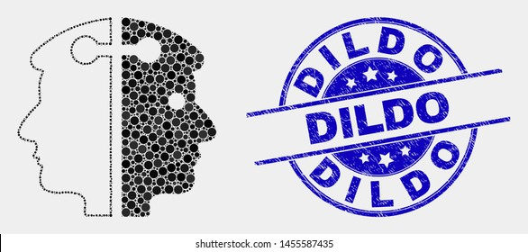 Pixel dual head link mosaic icon and Dildo stamp. Blue vector round grunge stamp with Dildo caption. Vector composition in flat style. Black isolated dual head link mosaic of randomized dots,