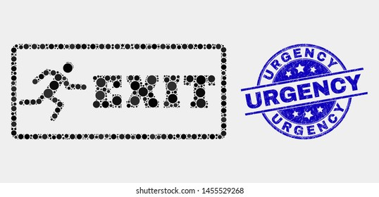 Pixel emergency exit mosaic pictogram and Urgency stamp. Blue vector round distress seal stamp with Urgency title. Vector composition in flat style.