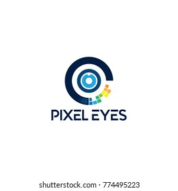 Pixel Eyes Logo Illustration template. Circle Abstract Logo.
