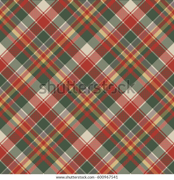 Pixel fabric texture classic plaid seamless pattern. Vector illustration.