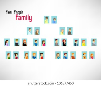 pixel family members vector icon design