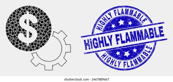 Pixel financial options gear mosaic pictogram and Highly Flammable seal stamp. Blue vector rounded grunge seal stamp with Highly Flammable caption. Vector collage in flat style.