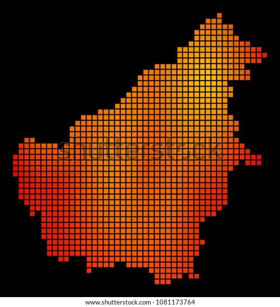 Pixel Fire Borneo Island Map Vector Stock Vector (Royalty