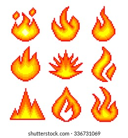 Pixel fire for games icons high detailed vector set