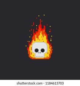 Pixel fire skull head.8bit.