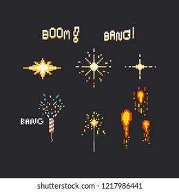 Pixel firework set.8bit.