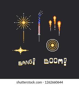 Pixel fireworks and text set.8bit.