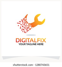 Pixel Fixer Logo. Digital Fix Logo Template Design Vector Inspiration. Icon Design