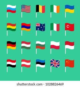 Pixel flag set. Pixelated banner National. political bit icon. Vector illustration