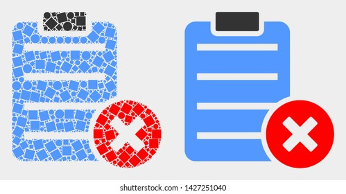 Pixel and flat delete report page icons. Vector mosaic of delete report page created of randomized rectangle elements and circle elements.