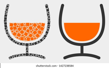 Pixel and flat mixture glass icons. Vector mosaic of mixture glass created of random square particles and round points.