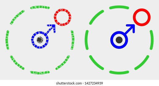 Pixel and flat move to circle perimeter icons. Vector mosaic of move to circle perimeter designed of randomized square elements and round elements.