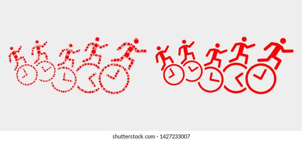Pixel and flat people run over clocks icons. Vector mosaic of people run over clocks organized of irregular small squares and round items.
