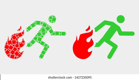 Pixel and flat person running away from fire icons. Vector mosaic of person running away from fire created of randomized rectangle elements and spheric elements.