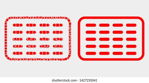 Pixel and flat pills blister icons. Vector mosaic of pills blister organized with scattered square dots and round dots.