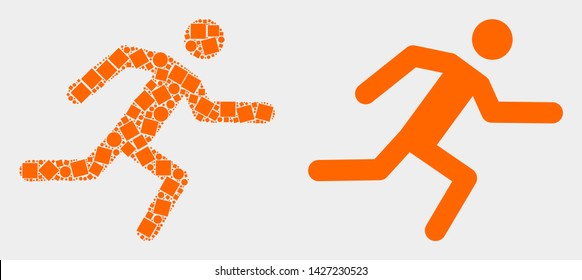 Pixel and flat running man icons. Vector mosaic of running man combined of random square particles and spheric pixels.