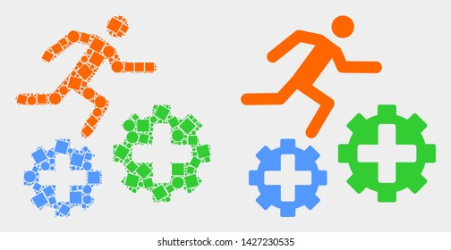 Pixel and flat running patient on gears icons. Vector mosaic of running patient on gears combined of scattered square pixels and spheric pixels.