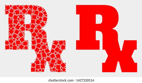 Pixel and flat Rx symbol icons. Vector mosaic of Rx symbol composed of randomized square elements and spheric pixels.