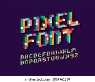 Pixel font 16-bit font 3D italic