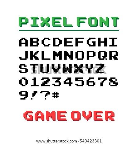 Pixel Font 39 Symbols Text Game Stock Vector Royalty Free