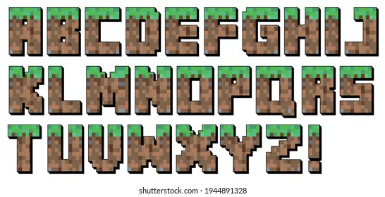 pixel font alphabet. Letter. Video game style