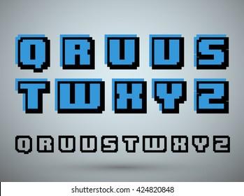 Pixel font alphabet, old video game design. Letters Q R U V S T W X Y Z. Vector illustration.