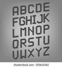 Pixel font isolated vector set. Set of vector pixel alphabet.