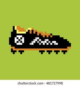 Pixel football boot, pixel-art vector