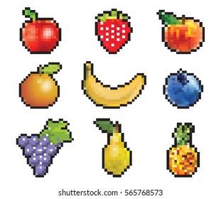 Pixel Art Fruits Images Stock Photos Vectors Shutterstock