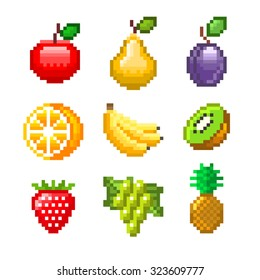 Pixel fruits for games icons high detailed vector set