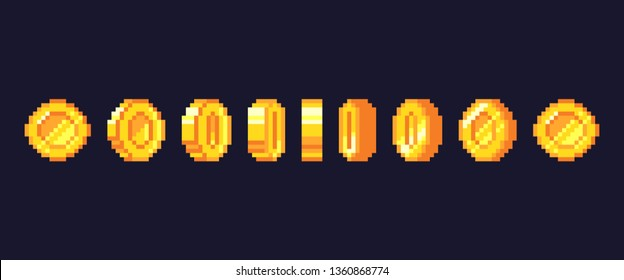 Pixel game coins animation. Golden pixelated coin animated frames, retro 16 bit pixels gold and video games money. Pixelated videogamer currency or videogame arcade gold vector illustration
