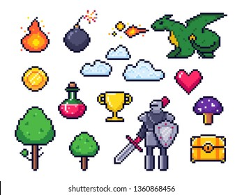Pixel game elements. Pixelated warrior and 8 bit pixels dragon. Retro games clouds, trees and icons. Arcade pixelation gaming fire, heart and potion. Vector isolated symbols set