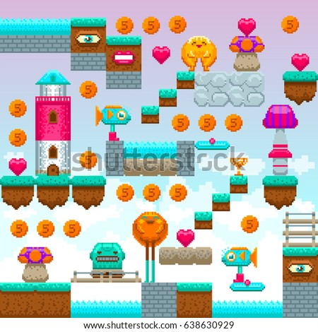Pixel game interface. Pixel art. Video arcade game elements. Vector illustration. Pixel blocks to construct original game level.
