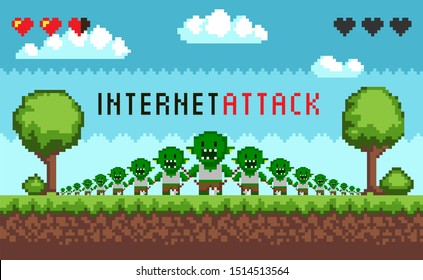 Pixel game interface hacker attack. Hacker troll monster characters, hacking the Internet. E-mail spam viruses bank account hacking. Pixelated scene of internet crime attack. Online scam and steal