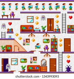 Pixel game interface. Vintage pixel video game. Home level. House level. Pixel interior. Pixel art furniture. Game character action phases