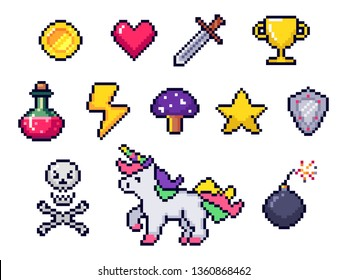 Pixel game items. Retro 8 bit games art, pixelated heart and star icon. Gaming pixels, arcade pixelation game unicorn, bomb and coin. Colorful isolated icons vector set