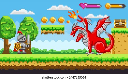 Pixel game knight in armor with sword and shield fighting with red fire belching three headed dragon for chest of money. Platformer video-game. Retro computer arcades. 8 bit pixelated art app gemes