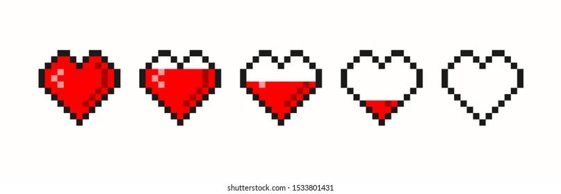 Pixel game life bar. Vector art 8 bit health heart bar. Gaming controller, symbols set.