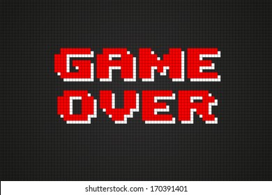 Pixel Game Over Computer Game Screen