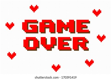 Pixel Game Over Computer Game Screen on white background