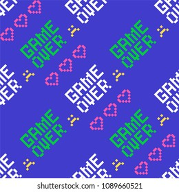 Pixel game over and hearts pattern/ Seamless vector background