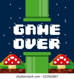 pixel game over interface with fungus icons. colorful design. vector illustration