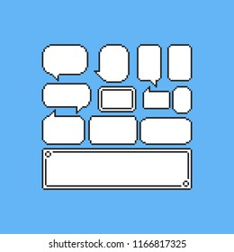 Pixel game speech balloons set.8bit.