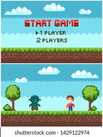 Pixel game vector, troll and heroic man fighting. Start game question players choice, pixelated ground with grass and layers, 8 bit clouds at sky, personage with weapon