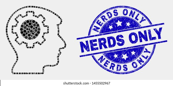 Pixel gear thinking head mosaic icon and Nerds Only seal stamp. Blue vector rounded textured seal stamp with Nerds Only message. Vector composition in flat style.