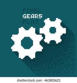 Pixel gears, cogwheels in a flat design, pixelated illustration. - Stock vector