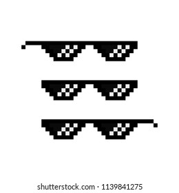 Pixel glasses. Gangster. Vector icon