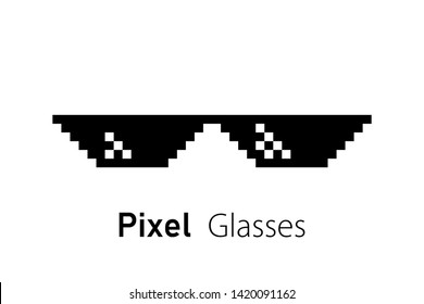 Pixel glasses icon. Pixel sunglasses. Isolated meme template. Summer funny element. EPS 10.