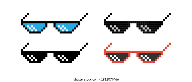 Pixel glasses isolated on white background. Sunglasses in pixel art style. Vector illustration