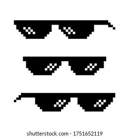 Pixel glasses of thug life meme. Art design. Mock up template. Abstract concept. EPS 10 vector illustration